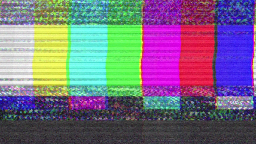 No signal old vintage TV. Static color noise. Glitch Error Video Damage. Bad interference. Broken antenna. Distortion and Flickering, analog TV signal. Vertical color bars