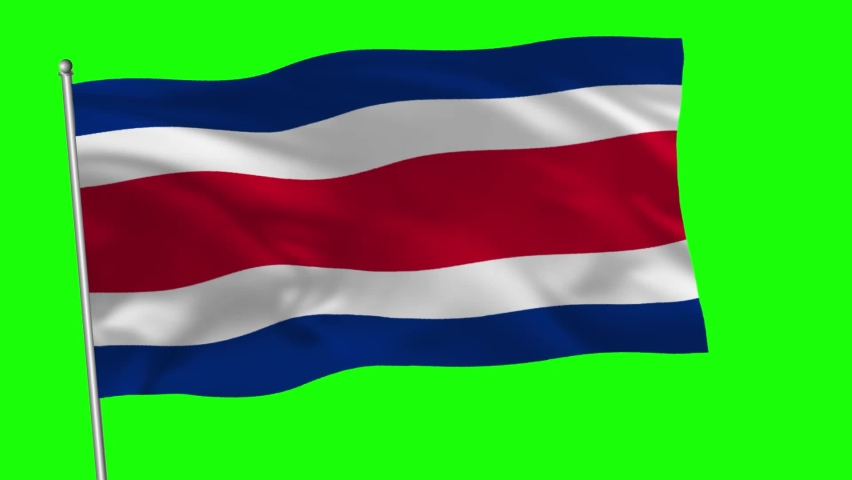 Costa Rica National Flag Waving with Green Screen. Costa Rican Flag Animation With Chroma Screen. | Shutterstock HD Video #1058853043