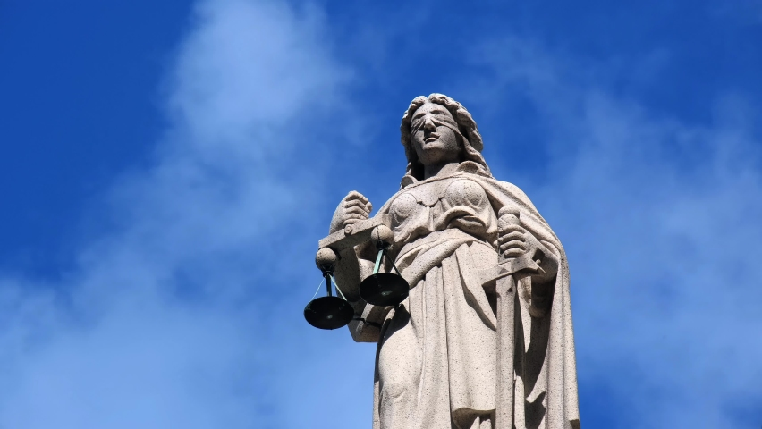 The sculpture of Lady Justice at the Court of Final Appeal in Central. Royalty-Free Stock Footage #1058857825