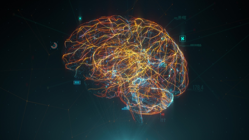 Futuristic human brain interface concept. Brain scan technology. Neurosurgery diagnostic  | Shutterstock HD Video #1058864293