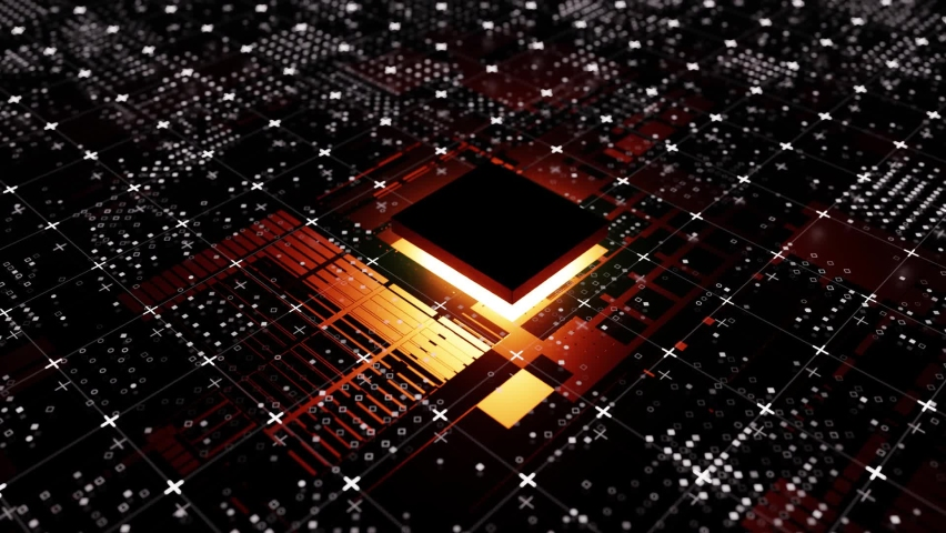 Technological background from an abstract microcircuit and an microprocessor. Glow from the processor. 3d illustration video Royalty-Free Stock Footage #1058873161