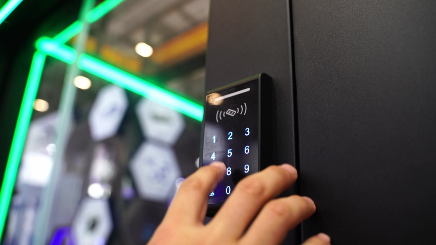 Staff push down electronic control machine with finger scan to access the door of or data center. The concept of data security or data access control. Royalty-Free Stock Footage #1058873944
