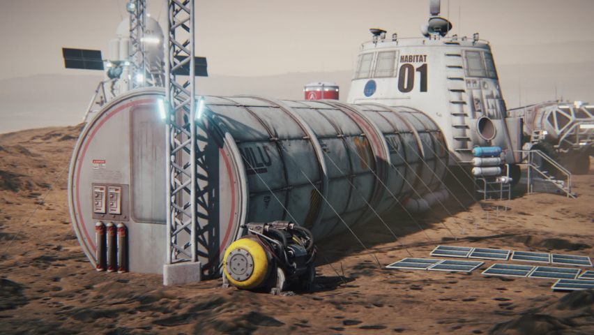 Colony of Mars. Exploration expedition to the planet. Mars base. 3d animation.