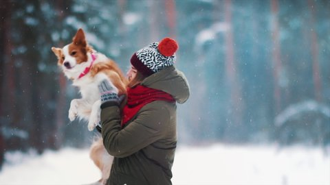 Smiling lady take free time together with her dog. Portrait of woman hug her border collie in winter snowy forest. Love and family concept. Pet lover with her friend. Enjoying vacation in counrtyside