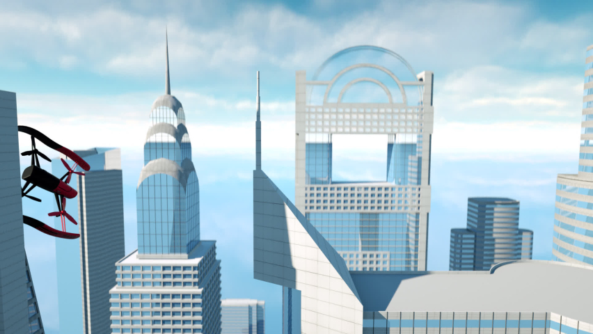 Aerial drone fly on the top of skyscrapers 3d graphic animation