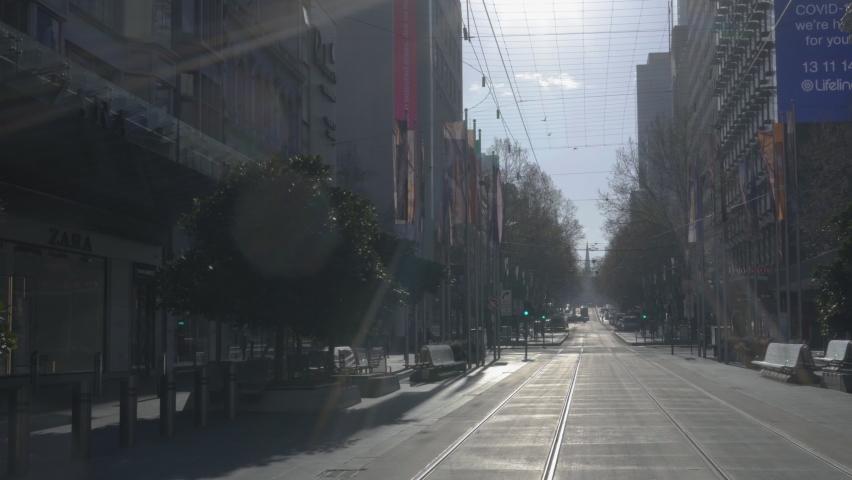 Empty closed Bourke Street Mall Melbourne city CBD during Covid lockdown Victoria Australia Royalty-Free Stock Footage #1058894621