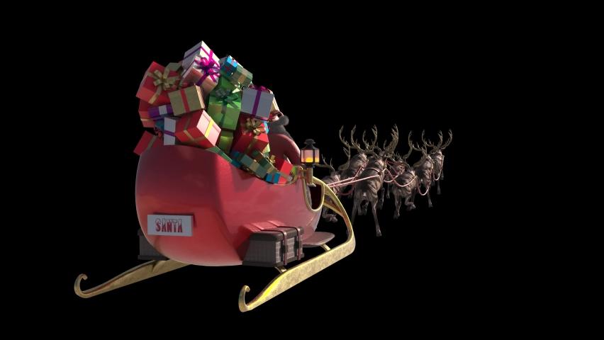 Santa Sleigh Flies Alpha Matte Christmas Gifts Reindeer Back 3D Rendering Animation 4K