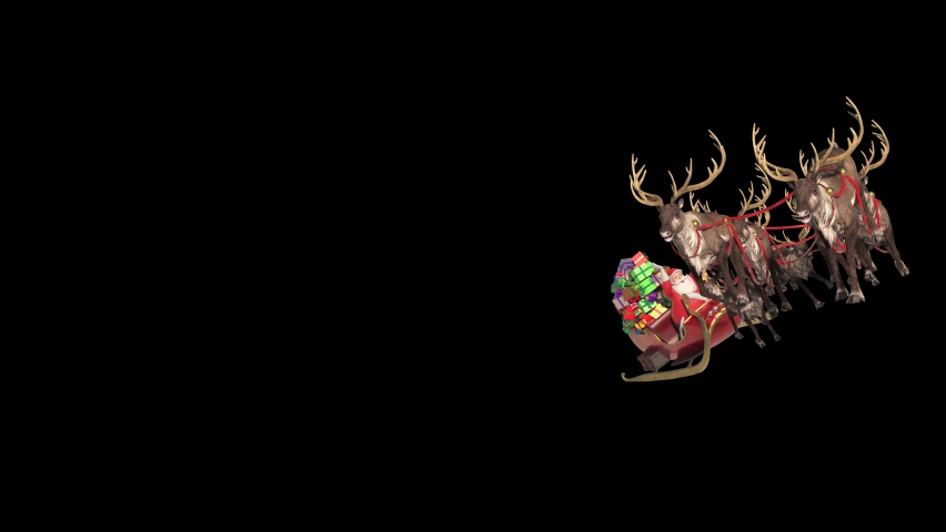 Santa Sleigh Flies Front Alpha Matte Christmas Reindeer Night 3D Rendering Animation 4K