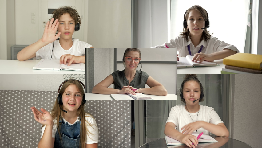 Back to school. Computer monitor and teacher with children studying by internet. Online education, distance learning, communication, teaching, study. Royalty-Free Stock Footage #1058912162