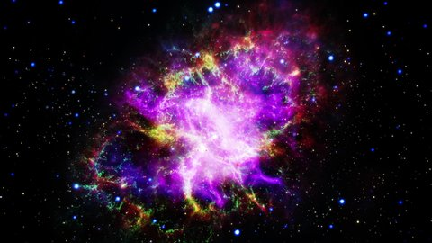 Flight Into the colorful Crab Nebula Pulsar supernova galaxy animation. Traveling through star fields and galaxies in deep space. Elements of this image furnished by NASA. 4K 3D animation rendered.