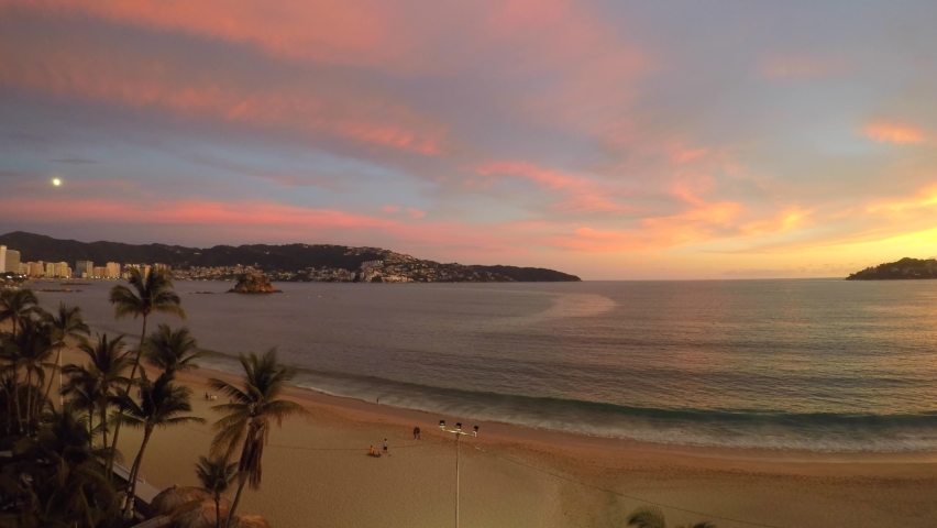 Sunset in the bay of Acapulco during the covid-19 pandemic