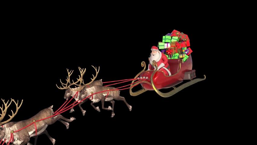 Santa Sleigh Fast Flies Front Alpha Matte Christmas Reindeer 3D Animation 4K