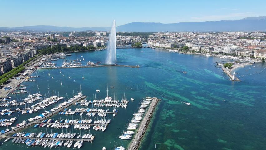 Geneva marina - boats on Lake Geneva from above - drone photography