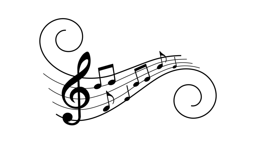 Music notes animation. Musical symbols on lines with swirls.