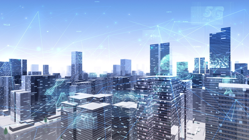 Digital Communication Network Technology AI BigData City Business Looopable Background. Royalty-Free Stock Footage #1058938502