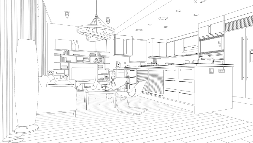 Transforming a wireframe home into an office. 3D rendering | Shutterstock HD Video #1058941130