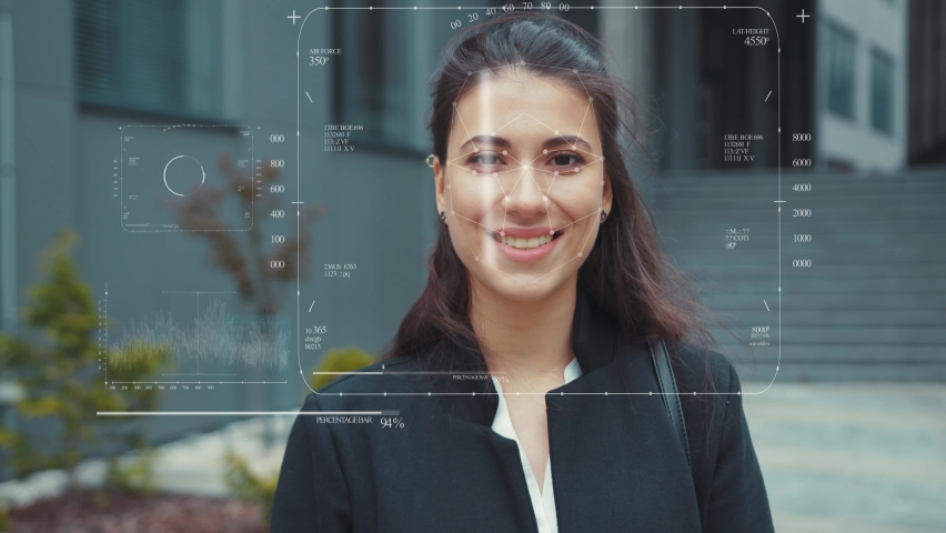 Young smiling woman Anamation scanning Of The Face eye of look at camera technology recognition human software identification information sci-fi digital biometric slow motion Royalty-Free Stock Footage #1058949884