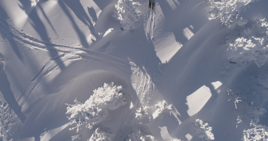 Aerial Top view of Skiers. Winter Day. Epic shot of ski man crossing the frame in frozen forest. 4k RAW footage