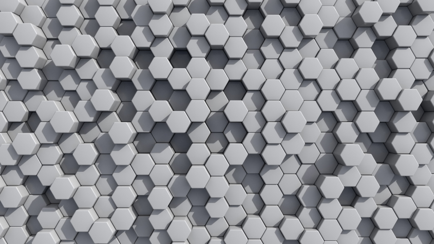 Abstract Hexagon Geometric Surface Loop light bright clean minimal hexagonal grid pattern, random waving motion background canvas in pure wall architectural white. Seamless loop  | Shutterstock HD Video #1058960450