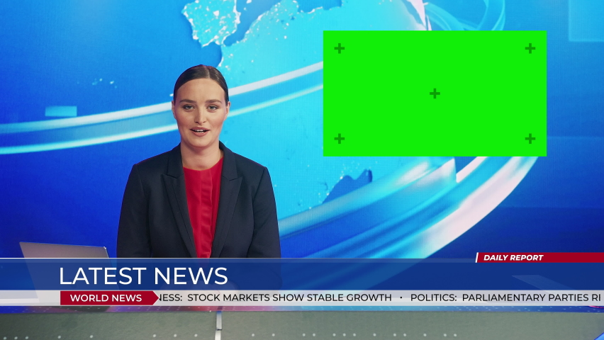 Live News Studio with Beautiful Female Anchor Reporting on a Story, Does Gesture while Using Green Chroma Key Screen Placeholder Copy Space. Television Newsroom Channel with Professional Presenter | Shutterstock HD Video #1058960732