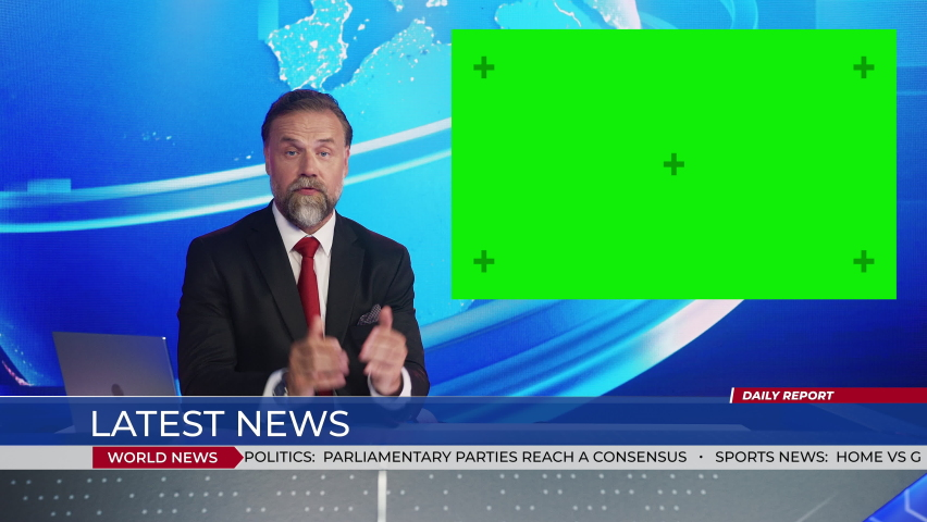Live News Studio with Handsome Male Anchor Reporting on a Story, Uses Green Chroma Key Screen Placeholder Copy Space.Television Newsroom Channel with Professional Presenter | Shutterstock HD Video #1058960747