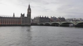 Tourist Boat Pass Under Westminster Bridge in London