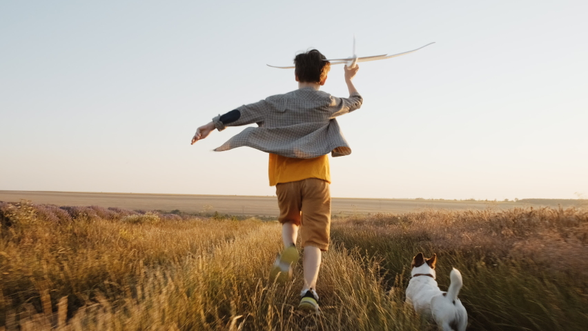 Happy boy runs Wheat Field  holding airplane in his hand, his dog Jack Russell Terrier on summer meadow sunset of summer day towards bright sun slow motion. Child plays lifestyle. Childhood. Agro Farm Royalty-Free Stock Footage #1058966186