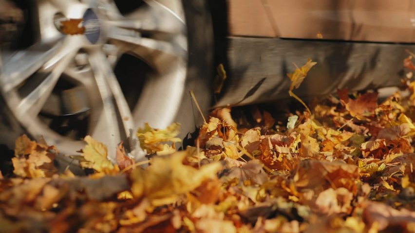 Wheel close-up, a car driving along an empty forest road, over vivid fallen autumn tree leaves in fall. Brown car driving through the beautiful autumn forest, swirling colorful leaves. Slow-motion Royalty-Free Stock Footage #1058967923