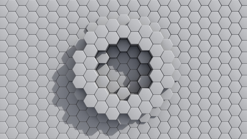 Abstract Hexagon Geometric Surface pulsing loop Light bright clean minimal hexagonal grid pattern, growing motion background canvas in pure wall architectural white. Seamless loop 4K UHD FullHD. | Shutterstock HD Video #1058968496