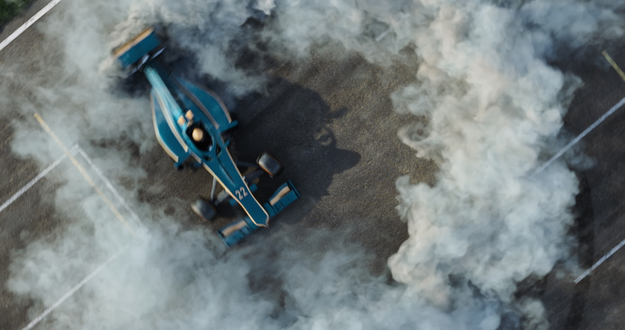 3d made formula car drifting with smoke on a 3d made track.