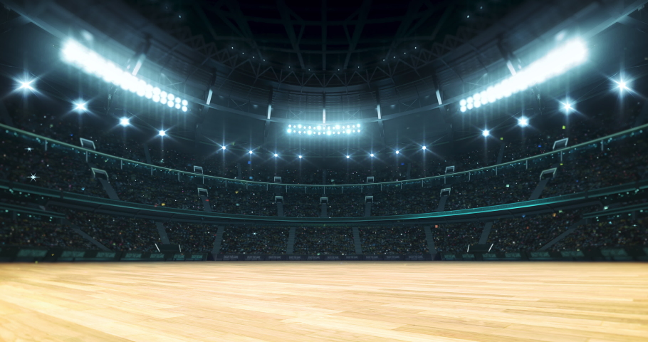 Entrance tunnel leading to illuminated basketball stadium with wooden floor and full of fans. Glowing stadium lights in 4k video background. Royalty-Free Stock Footage #1058972714