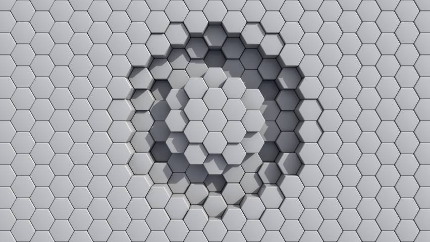 Abstract Hexagon Geometric Surface pulsing loop Light bright clean minimal hexagonal grid pattern, growing motion background canvas in pure wall architectural white. Seamless loop 4K UHD FullHD.