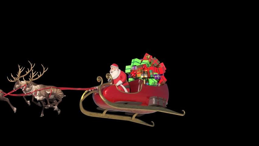 Santa Sleigh Fast Flies Front Alpha Matte Christmas Reindeer 3D Rendering Animation 4K
