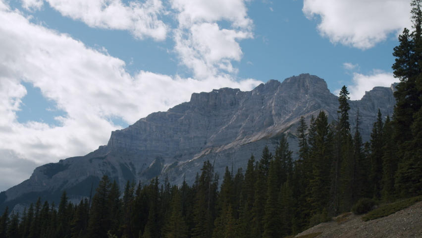Beautiful Rocky Mountains in Banff National Park Beside Two Jack Lakes Timelapse