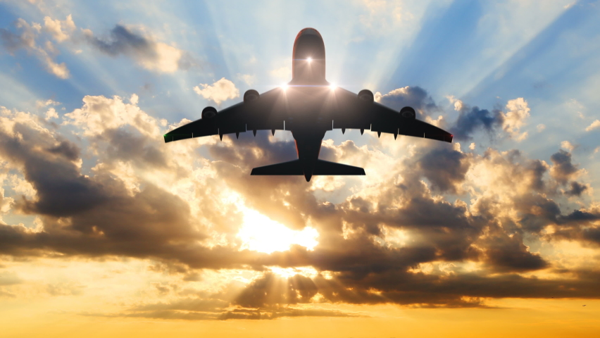 Airplane Takes Off Against the Background of Time-Lapse Sunset. Beautiful 3d Animation. Ultra HD 4K 3840x2160 Royalty-Free Stock Footage #1058985719