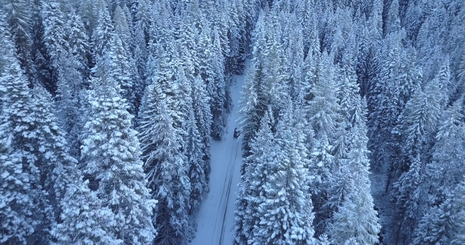 Drone footage of Car drives in the Snow Through a forest, Winter landscape, Snow Covered Tree's | Shutterstock HD Video #1058992322