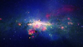 Space flight into a star field realistic galaxy milky way animation background. 4K 3D traveling in milky way space.  Abstract Sci-fi Video with Space, Galaxies, Nebulae, stars based on NASA image.
