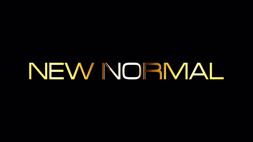 Set of five New Normal golden text word with light animation effect. The new abnormal, The New normal after Covid-19. 4K isolated with alpha channel. Each element has its own seamless looping. effect | Shutterstock HD Video #1059011054