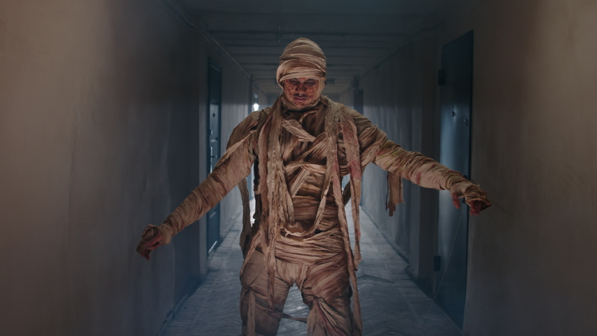 Guy in thematic bandaged costume of halloween mummy doing a funny dance in corridor, celebrating halloween - horror, halloween concept 4k footage | Shutterstock HD Video #1059011318