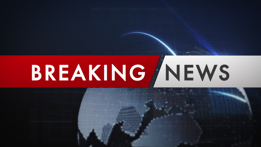 Breaking news banner in front of a digital globe network. Digital generated animation background. Royalty-Free Stock Footage #1059014513