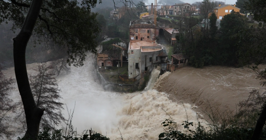 Floods in Sant Joan Les Fonts, La Garrotxa, Girona, Spain. January 2020 Royalty-Free Stock Footage #1059014546