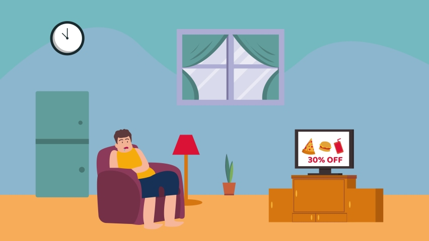Fat man animation drooling over junk food discount commercial on the television while sitting on the couch. Shot in 4k resolution
