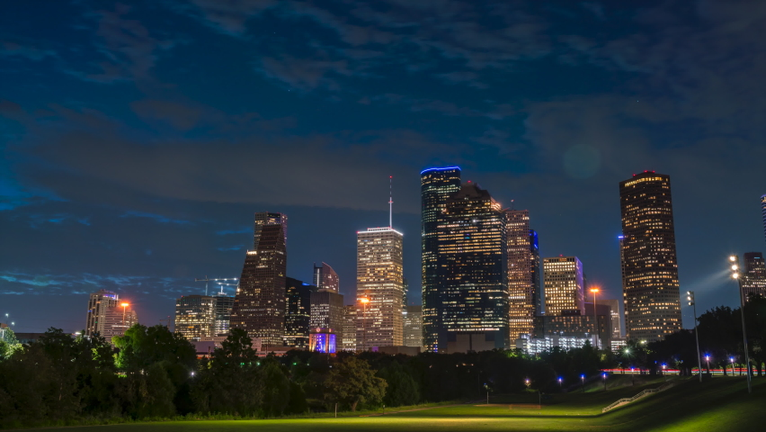 Night to Day Sunrise Time Lapse With Downtown Houston in the Background
