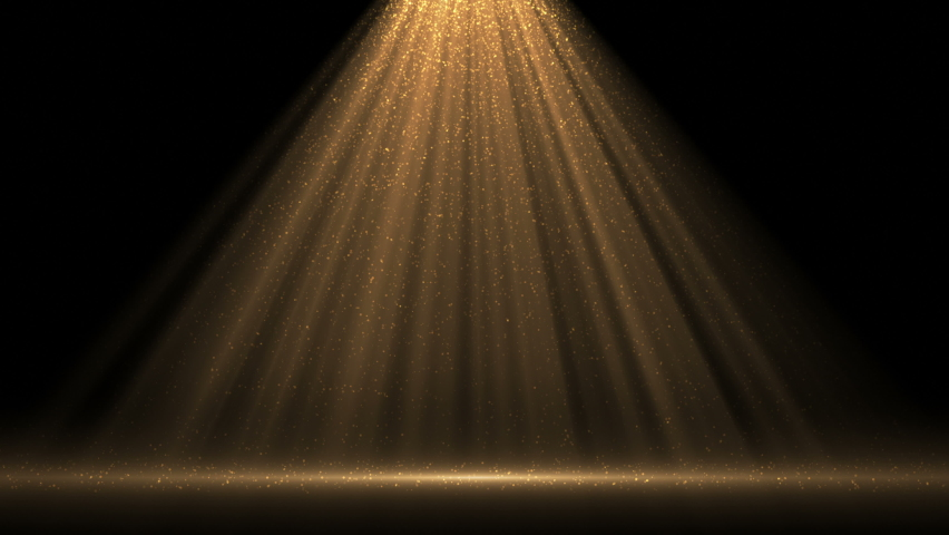 4K Spotlight with flying particles. Gold color rays. Empty scene with light for product. Xmas 2021 background. Isolated on black. Christmas animation | Shutterstock HD Video #1059036956