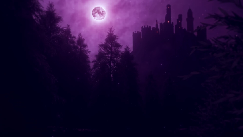 Purple Castle by Night - View from the Forest - Loop Landscape Background Royalty-Free Stock Footage #1059041255