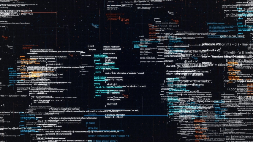 Abstract computer code running in a virtual space. Animation. Programming code with moving lines isolated on black sreen background, seamless loop. Royalty-Free Stock Footage #1059050153