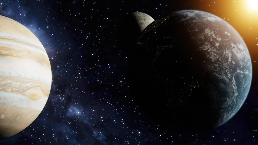 3D Render of Earth and the moon next to jupiter to compare scale idea. Stars. Elements of this image furnished by NASA.