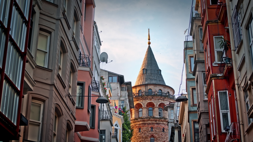 Galata Tower and the street in the old town of Istanbul, Turkey | Shutterstock HD Video #1059056525