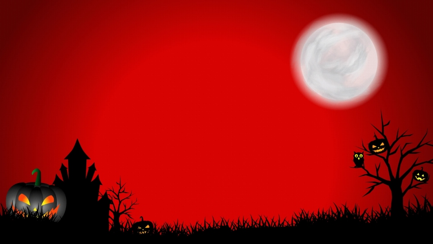 Halloween night background animation with moon, animated pumpkin, grass, trees, owl, haunted castle, flying bats, witch, fog on red background | Shutterstock HD Video #1059058217
