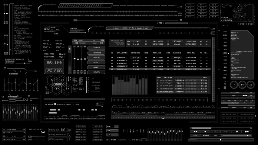 HUD elements.SciFi data User Interface.Digital infographic elements.2D Graphic.CG.Black background for Luma Alpha Matte. | Shutterstock HD Video #1059059591